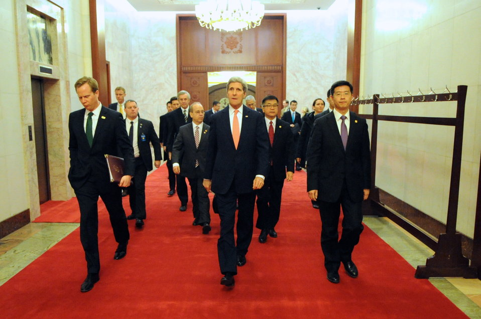 Secretary Kerry Walks Through Beijing's Great Hall of the People