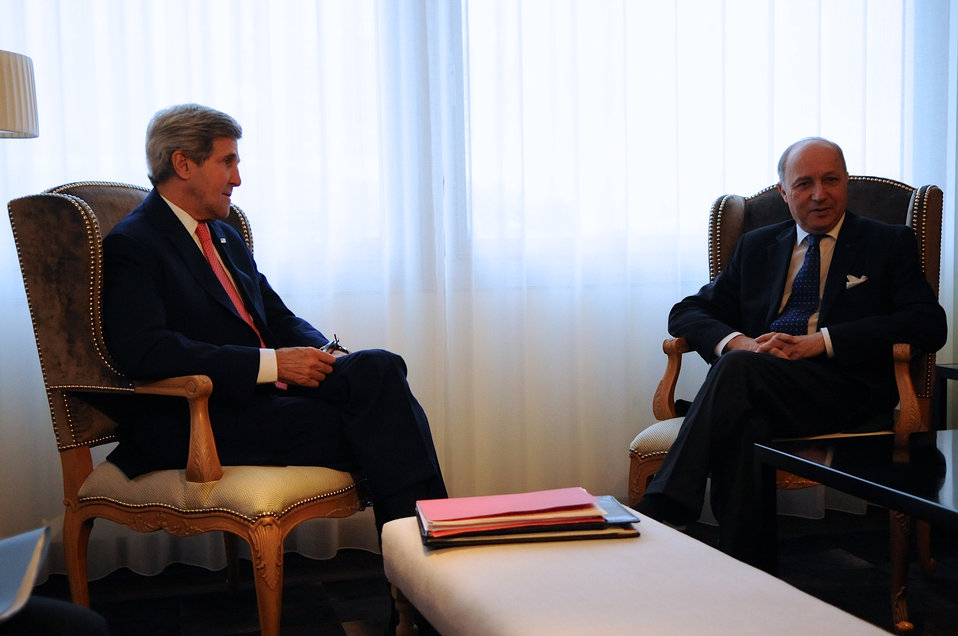 Secretary Kerry Meets With French Foreign Minister Fabius in Geneva