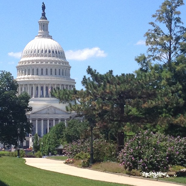 Picture perfect day in #DC, view from grounds of Library of Congress.