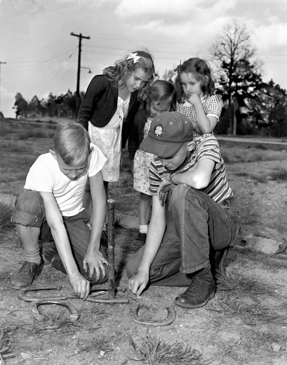 Children Playing Horse Shoes Oak Ridge 1947