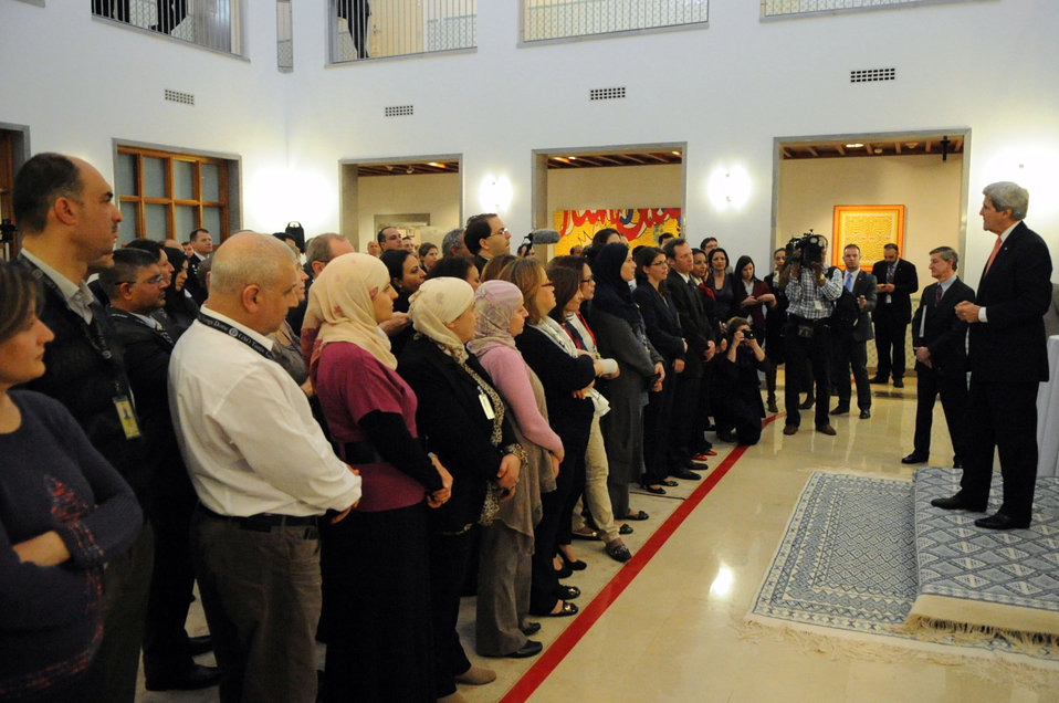 Secretary Kerry Addresses U.S., Locally-Hired Staff at Embassy Tunis