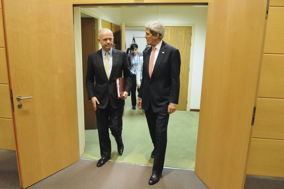 Secretary Kerry Meets With U.K. Foreign Secretary Hague in Brussels