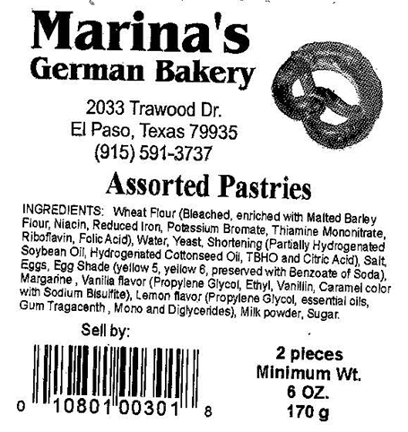 RECALLED – Pastry products