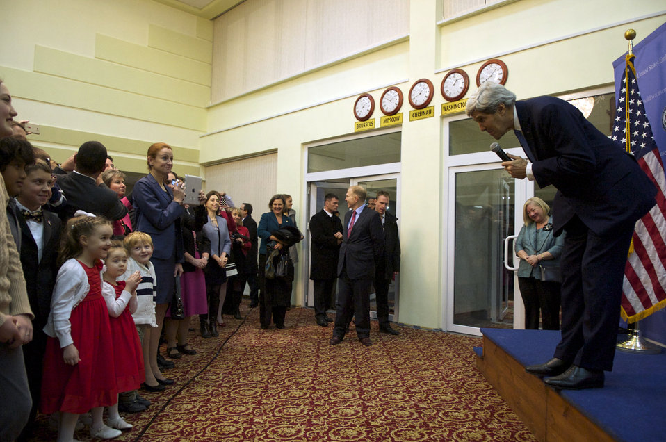 Secretary Kerry Greets the Children of Embassy Chisinau Employees