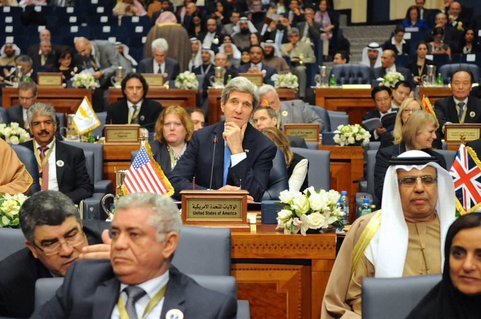 Secretary Kerry Listens at Outset of Syrian Donors' Conference