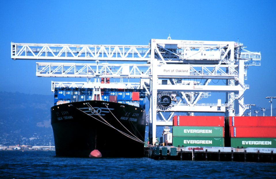 A containership at the Port of Oakland.