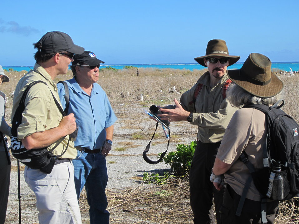 USFWS employees with Director Dan Ashe on Laysan Duck area on East Island