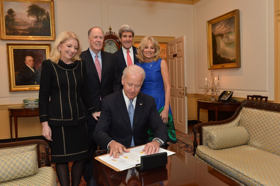 Vice President Biden Signs the Appointment Papers for Ambassador Russell