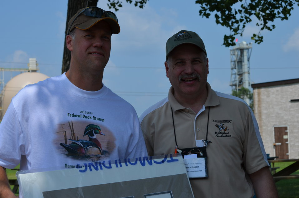 Dale Eggert, Minnesota Waterfowl Association (right), and fellow waterfowl and Duck Stamp enthusiast. Service photo.