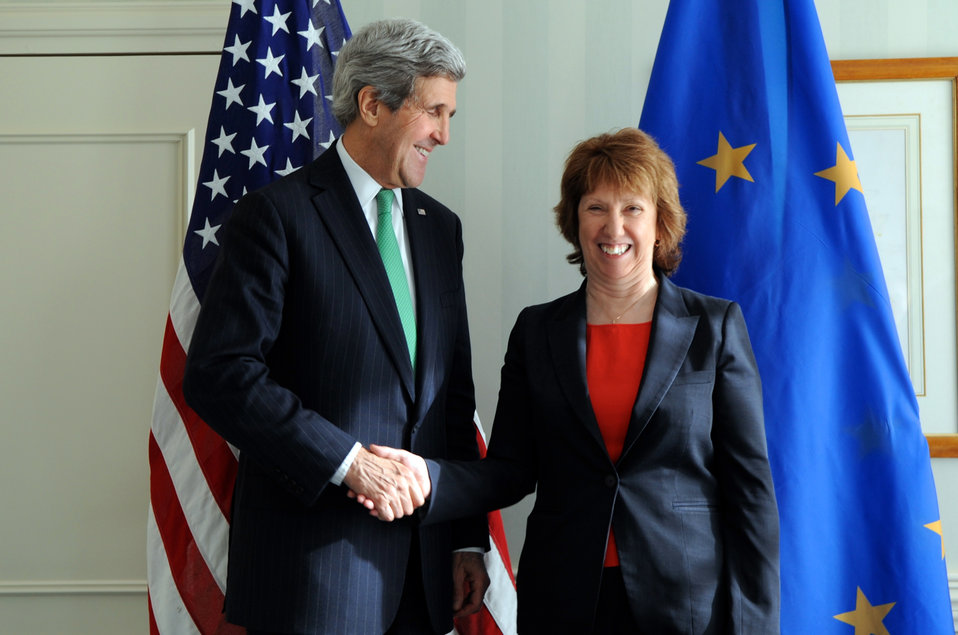 Secretary Kerry Shakes Hands With EU High Representative Ashton Before Meeting in Munich