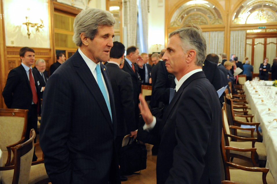 Secretary Kerry Chats With Swiss Federation President Burkhalter at Geneva II Conference