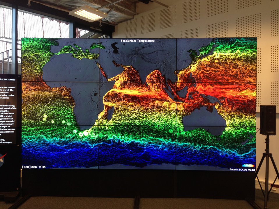 NASA's Hyperwall Shows the Sea Surface Temperature
