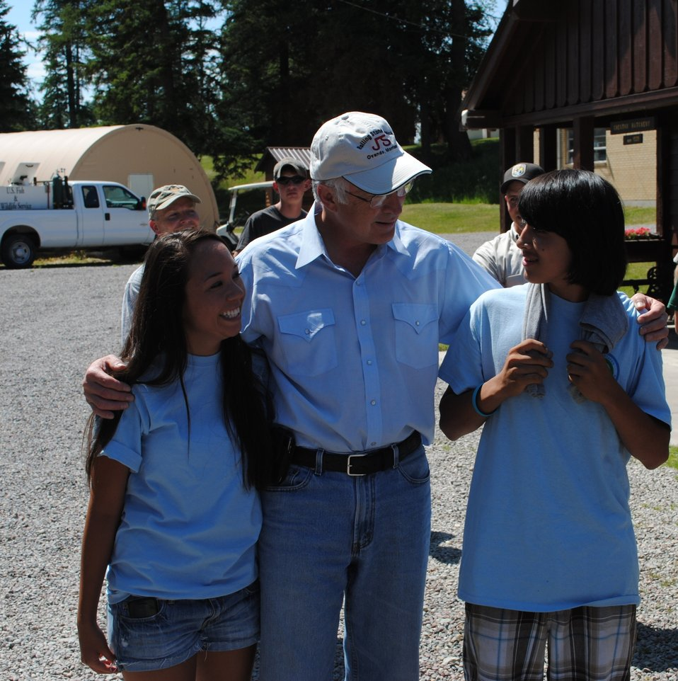 Secretary Salazar with Northwest Montana Native Youth Conservation Corps Youngsters
