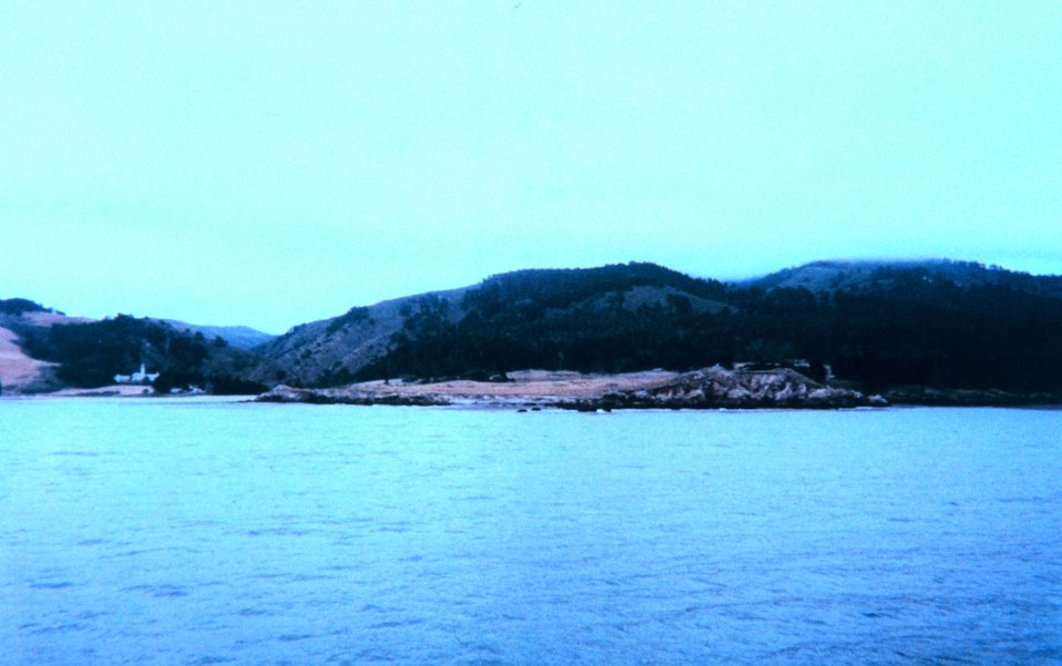 Carmel Valley and Carmelite monastery as seen from Carmel Bay.  Portion of composite image of Point Lobos.