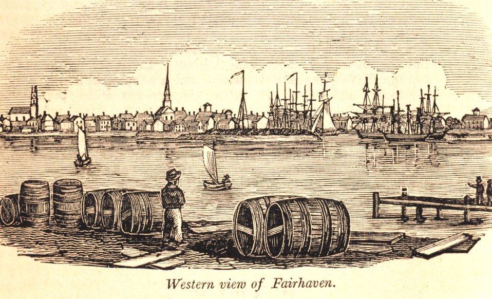 A western view of Fairhaven as seen from New Bedford. In: Historical Collections ... of Every Town in Massachusetts.  1841.