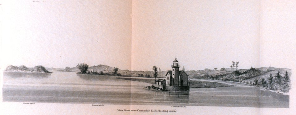 View from near Coxsackie Lighthouse.  (Looking down.)  On the Hudson River.  In: Atlantic Local Coast Pilot Sub-Division 13 South Coast of Long Island New York Bay and Hudson River 1880.  P. 620.  Library Call Number VK981.A3 1879 Sub-13 2nd ed. 1880.