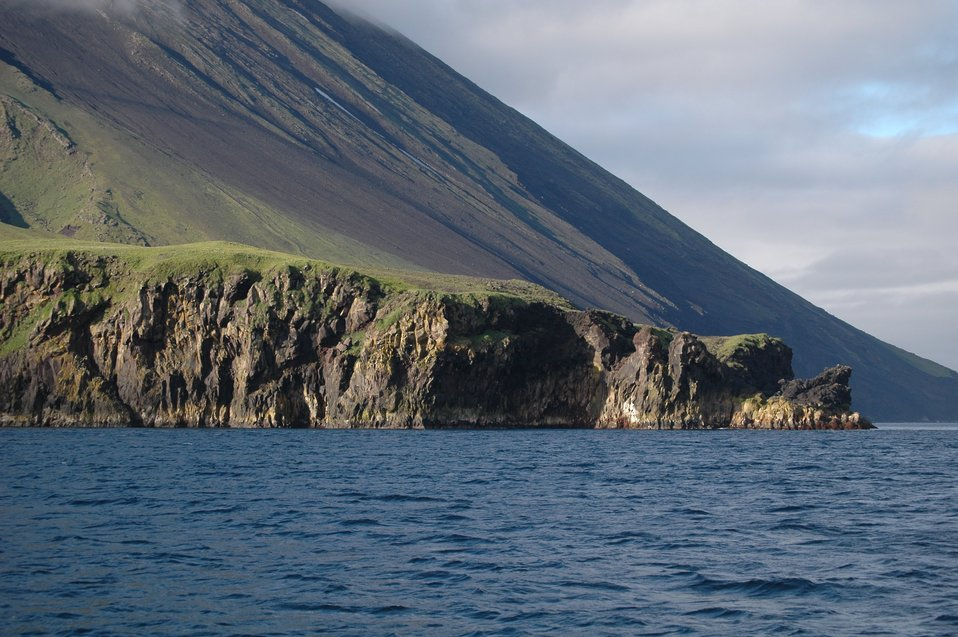 The flank of Tanaga Volcano illustrating the steepness of Aleutian stratovolcanoes.