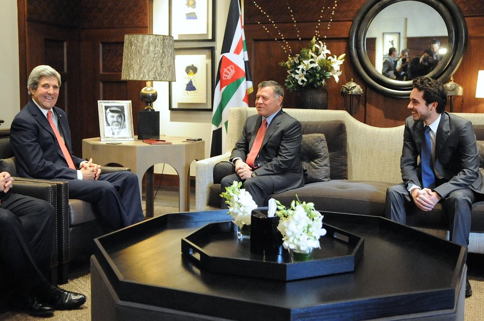 Secretary Kerry Meets With King Abdullah II, Crown Prince Hussein