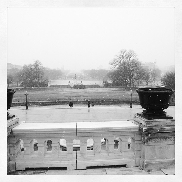 Snowy day at the Capitol from west front.