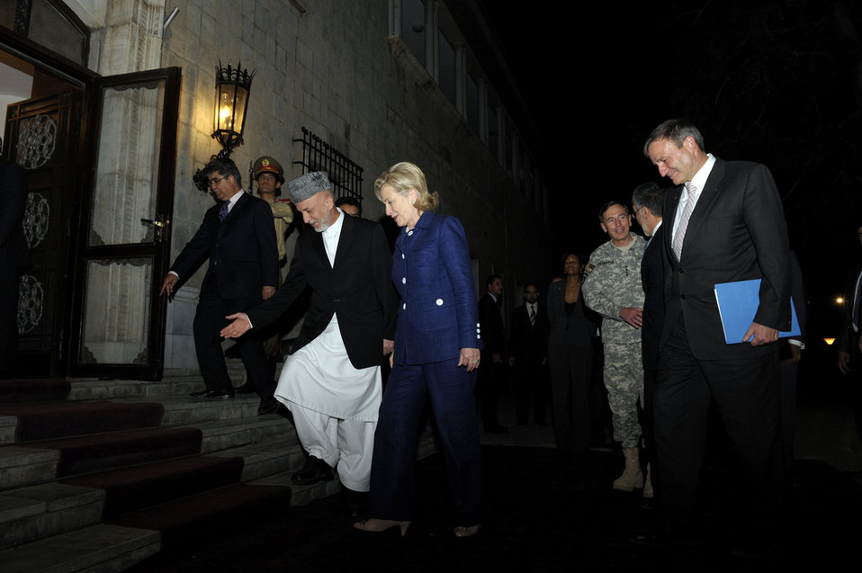 President Karzai Welcomes Secretary Clinton, General Petraeus, and Ambassador Eikenberry to the Presidential Palace