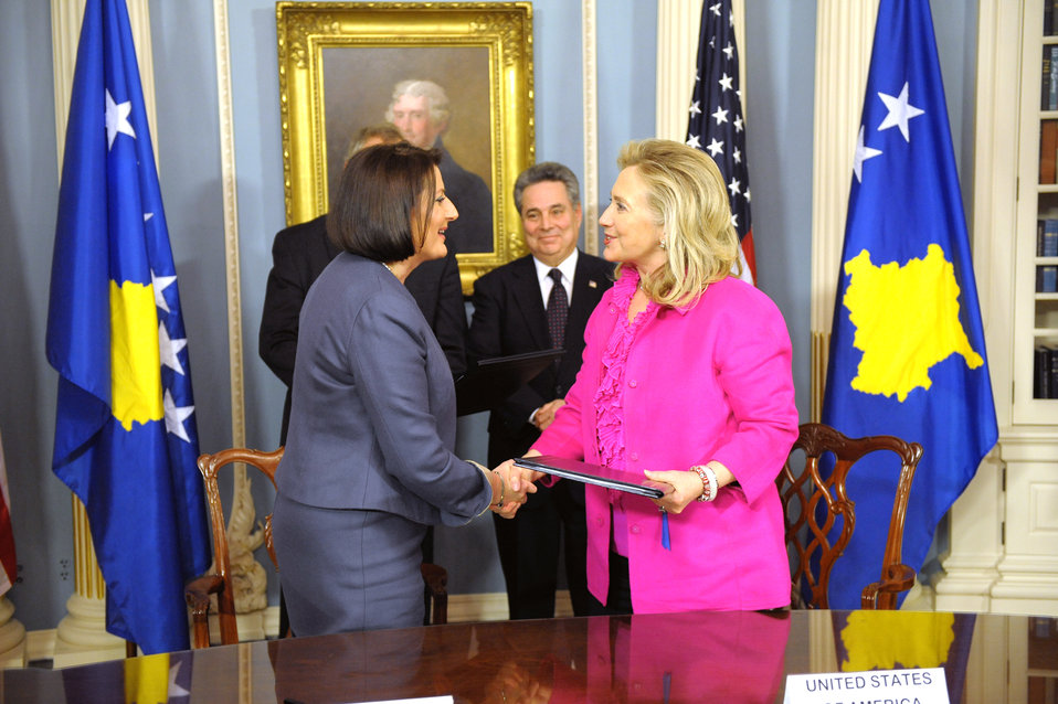Secretary Clinton Shakes Hands With President of Kosovo Jahjaga