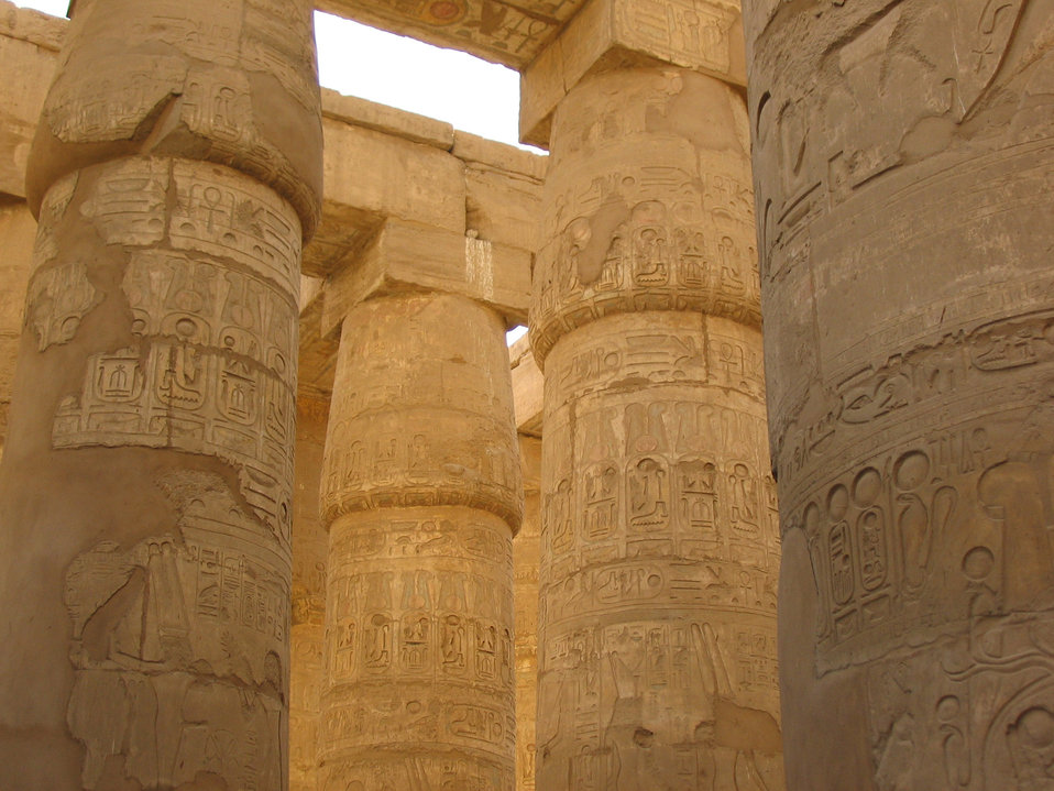 The hieroglyphs on columns - luxor