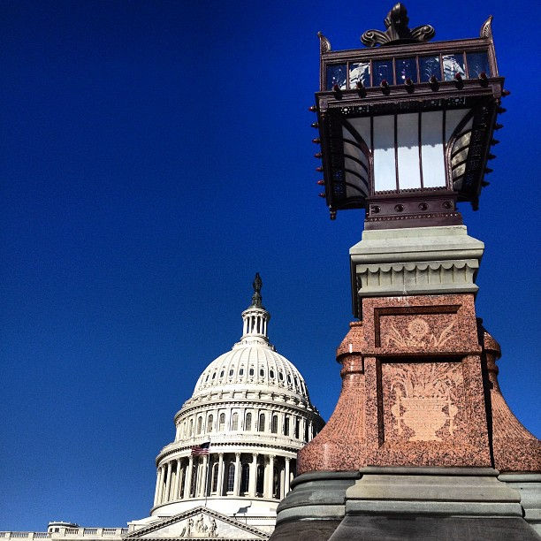 Olmsted lantern c. 1870s and Capitol on bright blue day in Washington