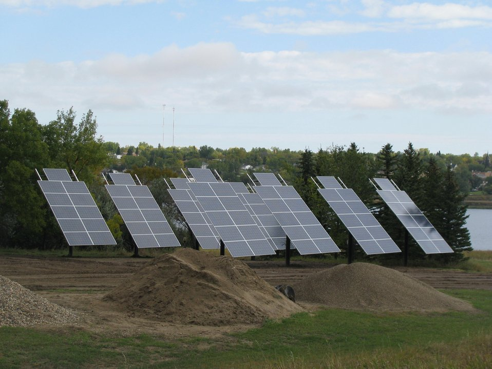 Photovoltaic panels at Des Lacs National Wildlife Refuge