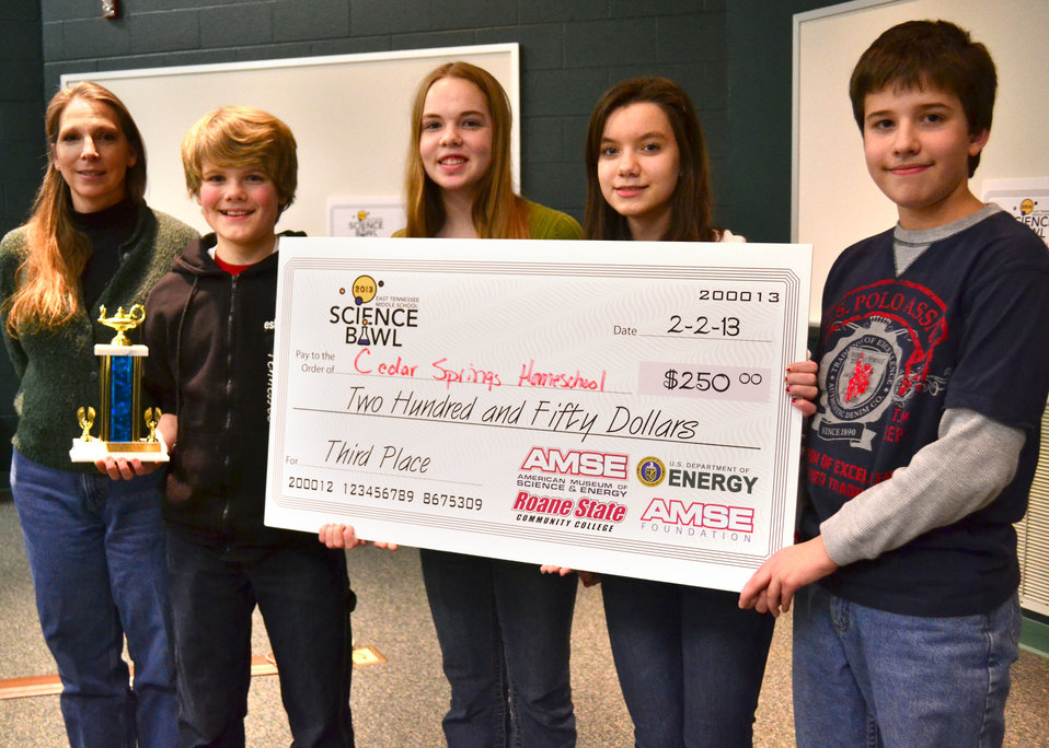 Cedar Springs Homeschool Third Place DOE Tennessee Middle School Science Bowl Oak Ridge