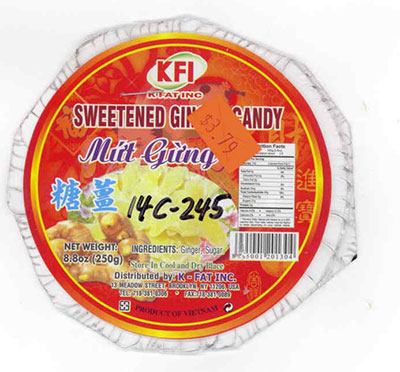 RECALLED - Sweetened Ginger Candy