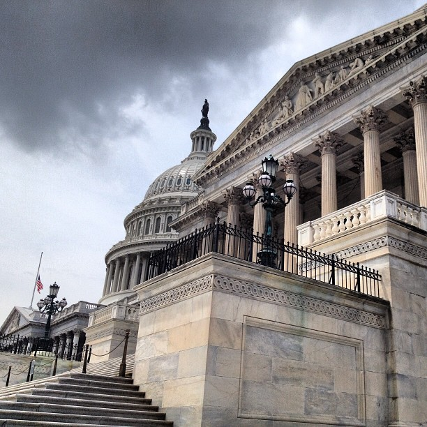 Flags at Capitol now at half-staff in honor of Senator Lautenberg.