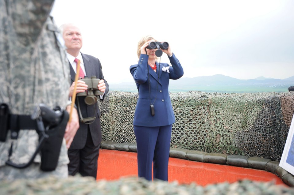 Secretary Clinton Looks Out Over the Military Demarcation Line (MDL)