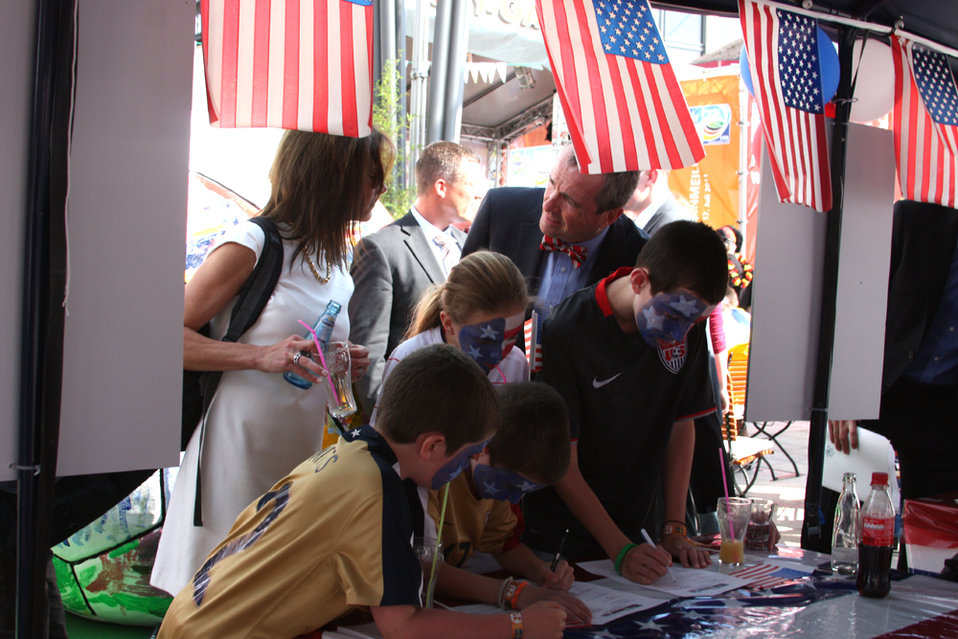 Ambassador Murphy's Children Take a Quiz on U.S. History and Women's Soccer