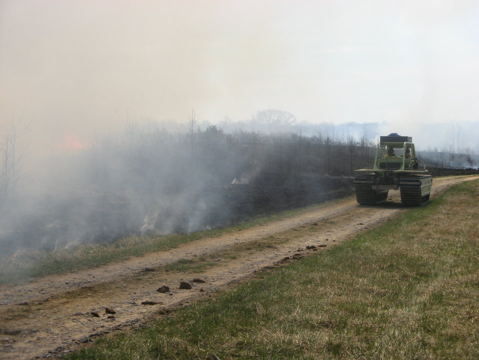 Marshmaster drives along fire line