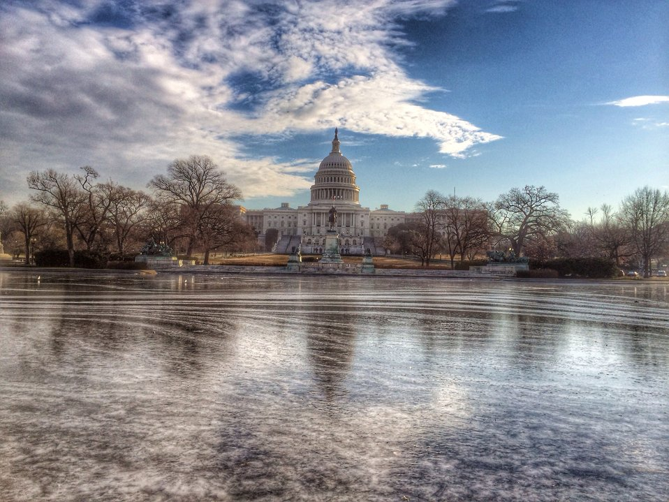 Frozen Capitol Reflecting Pool