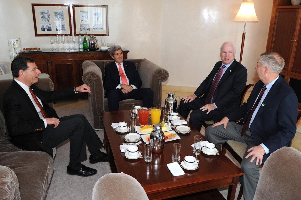Secretary Kerry Meets With Senators McCain, Graham, Barrasso