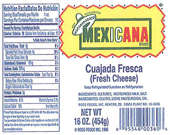 RECALLED – Variety of cheeses