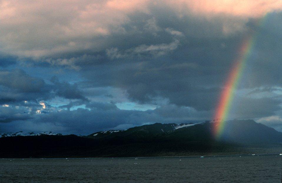 A rainbow somewhere along the Alaska Peninsula.