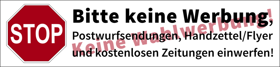 Postbox label 'No advertisements, no canvassing' (german)