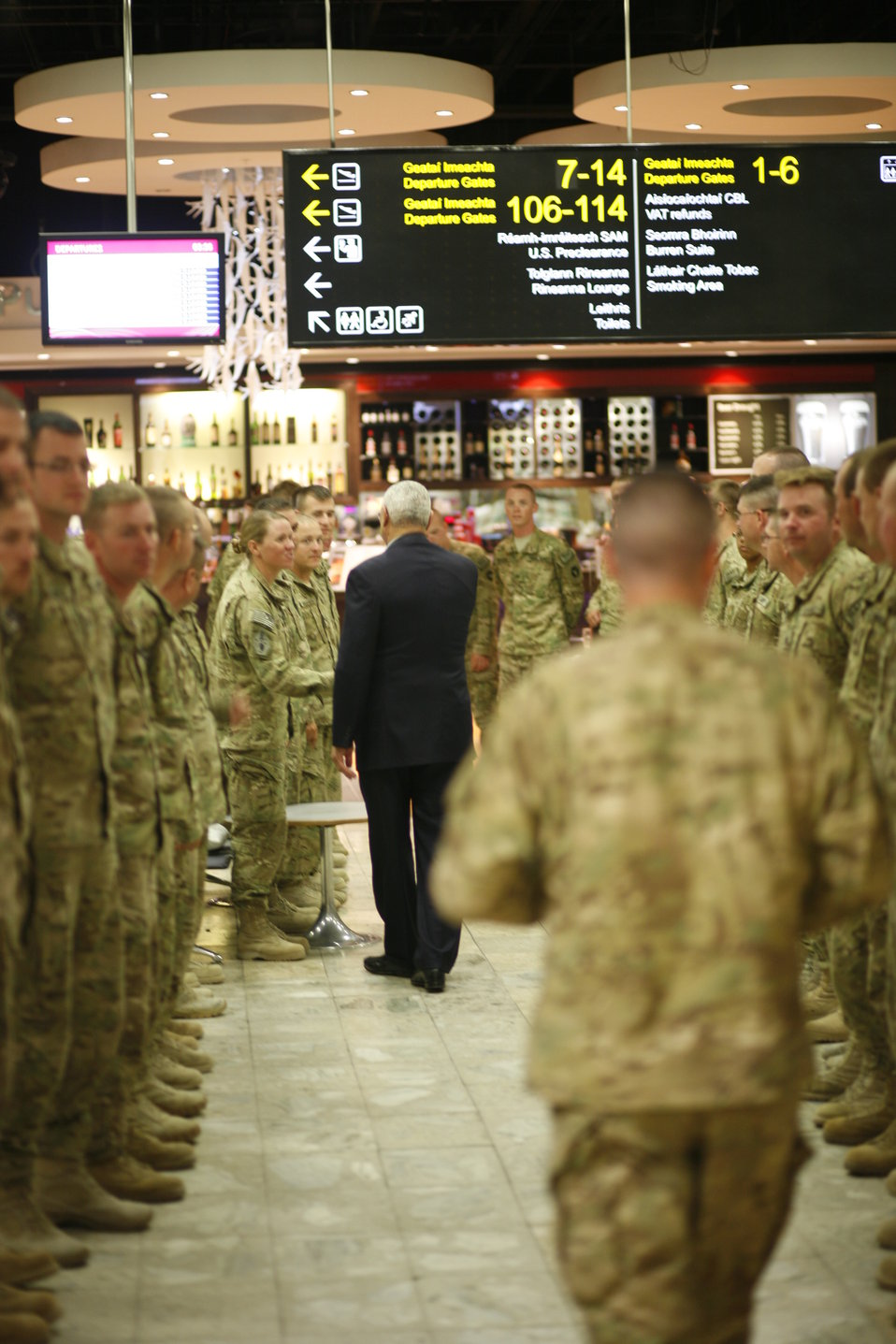 Former Secretary Powell Greets Servicemembers Returning From Afghanistan