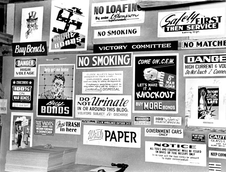 Signs at Graphics Department 1943 Oak Ridge
