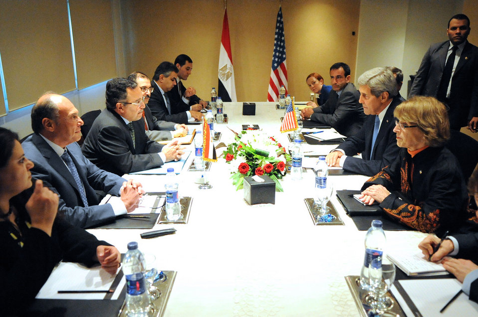 Secretary Kerry And U.S. Delegation Meet With Egyptian Foreign Minister Fahmy