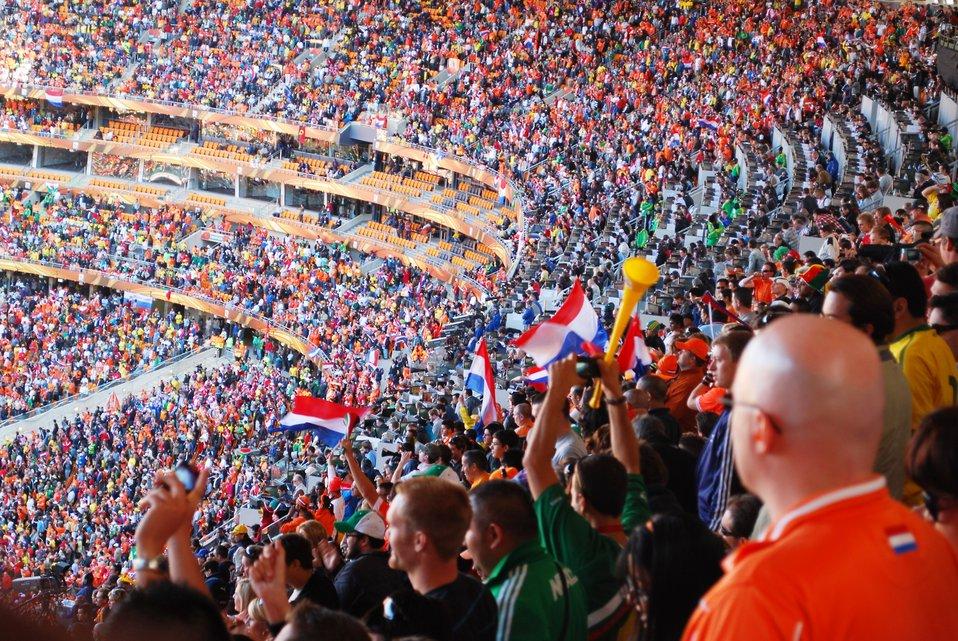 Fans Cheer During The Netherlands vs. Denmark Soccer Match