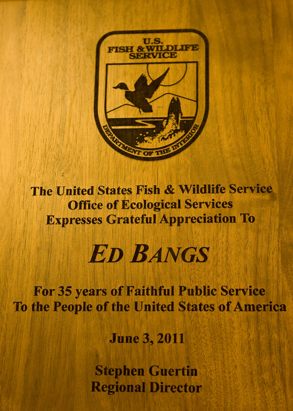 U.S. Fish and Wildlife Plaque