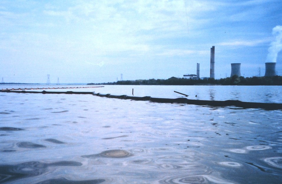 Oil containment boom placed in the Patuxent River following the April 7th Swanson Creek oil spill.
