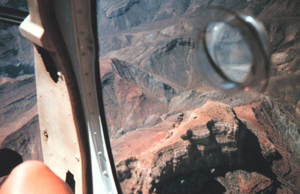 A helicopter eye's view of part of the Grand Canyon.