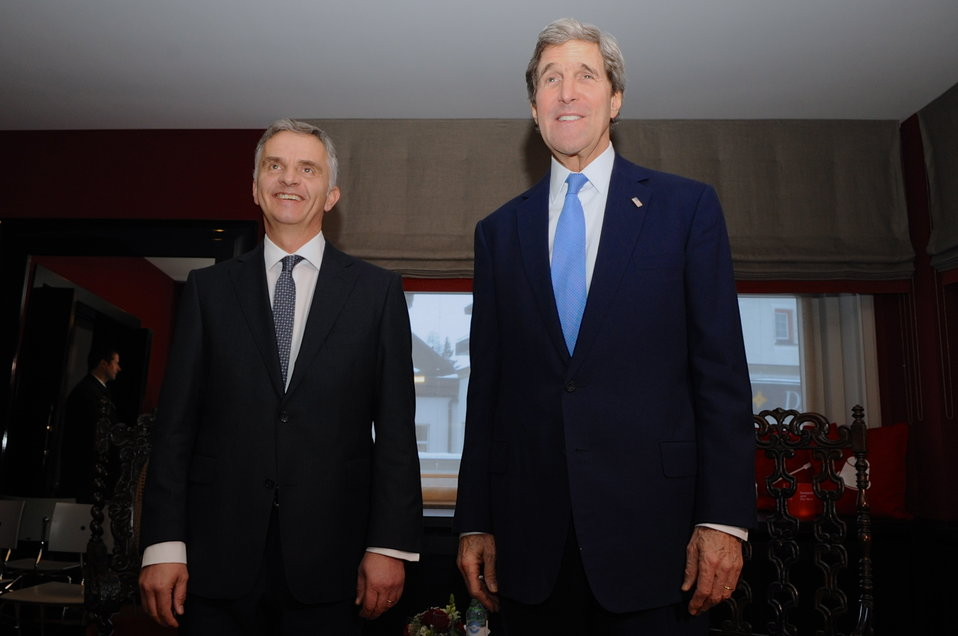 Secretary Kerry and Swiss President Burkhalter in Davos