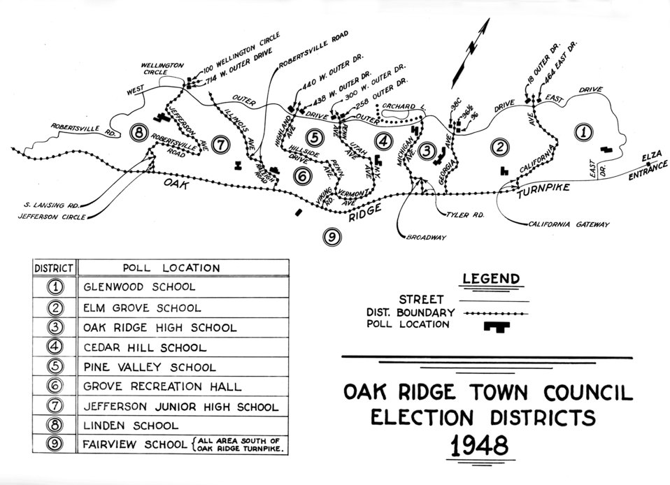 Map of Oak Ridge Election Districts 1948