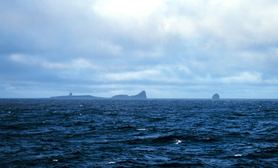 Bogoslof Island, a chronic piece of land that comes and goes with various eruptions.  Presently above the water surface and a home for marine mammals and birds.