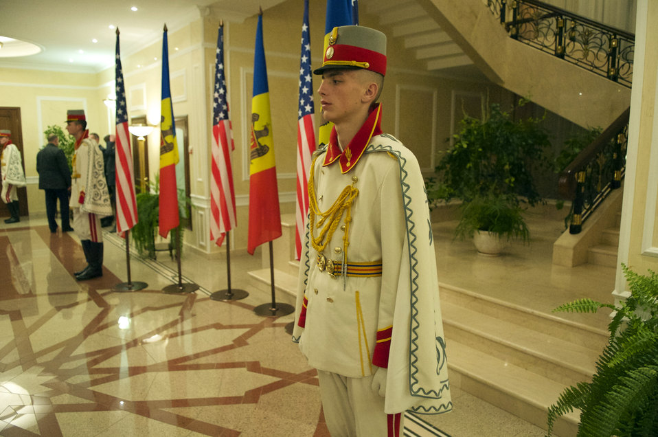 Members of a Moldovan Honor Guard Await Secretary Kerry's Exit From a Meeting With Moldovan Officials